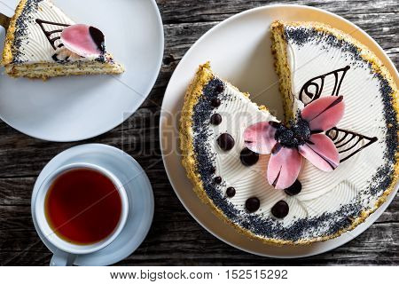 Sponge Cake With A Cut Out Piece