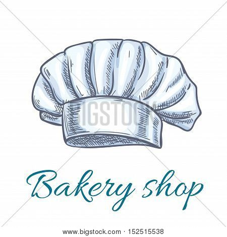 Chef hat isolated sketch. White baker toque or cook cap with lush pleated body. Bakery shop symbol, restaurant menu design