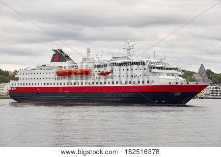 Norway. Kristiansund harbor with cruise. Travel background. Horizontal