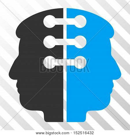 Blue And Gray Dual Head Interface interface toolbar pictogram. Vector pictogram style is a flat bicolor symbol on diagonal hatch transparent background.