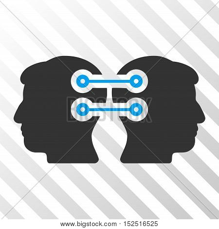 Blue And Gray Dual Heads Interface Connection interface toolbar pictogram. Vector pictogram style is a flat bicolor symbol on diagonal hatch transparent background.