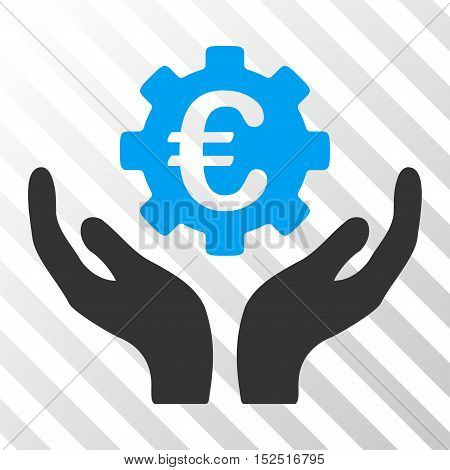 Blue And Gray Euro Maintenance Hands interface toolbar icon. Vector pictogram style is a flat bicolor symbol on diagonal hatch transparent background.