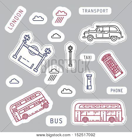 Vector illustration of a linear combination of public transport of the city of London, taxi, bus, subway