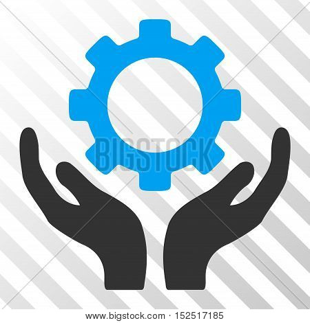 Blue And Gray Gear Maintenance Hands toolbar icon. Vector pictogram style is a flat bicolor symbol on diagonal hatch transparent background.