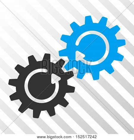 Blue And Gray Gear Mechanism Rotation toolbar pictogram. Vector pictograph style is a flat bicolor symbol on diagonal hatch transparent background.