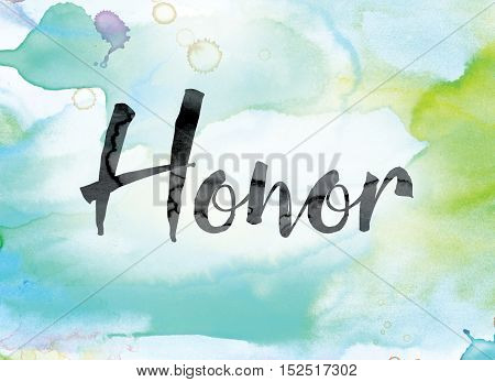 Honor Colorful Watercolor And Ink Word Art