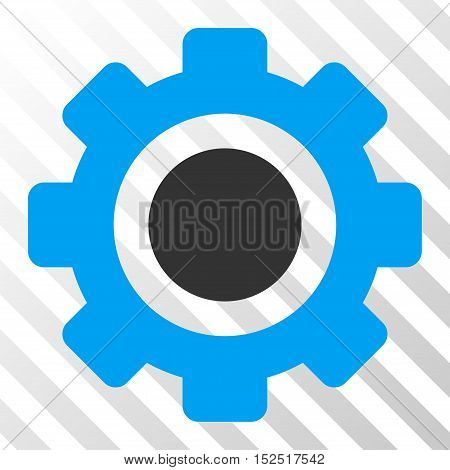 Blue And Gray Gear interface icon. Vector pictogram style is a flat bicolor symbol on diagonal hatch transparent background.