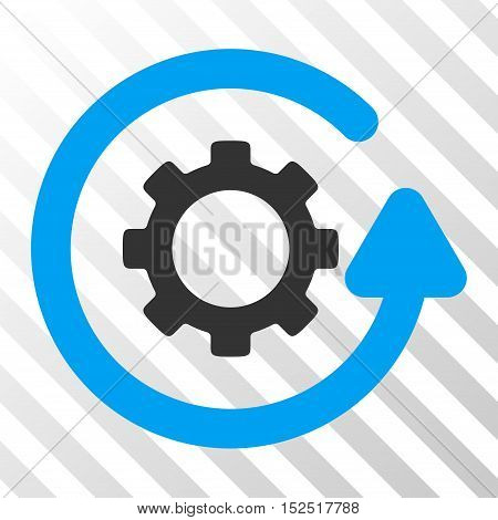 Blue And Gray Gearwheel Rotation Direction interface toolbar icon. Vector pictograph style is a flat bicolor symbol on diagonal hatch transparent background.