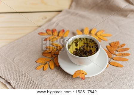 cup of tea with autumn herbarium on a wooden light background