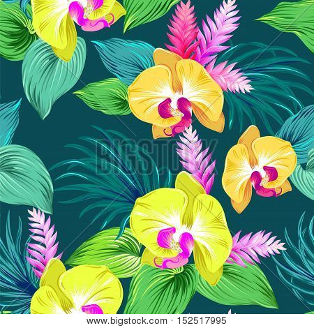 seamless vector floral design with natural yellow orchids. very detailed vintage style illustration. beautiful colors, tropical bouquets in an allover repeating composition.