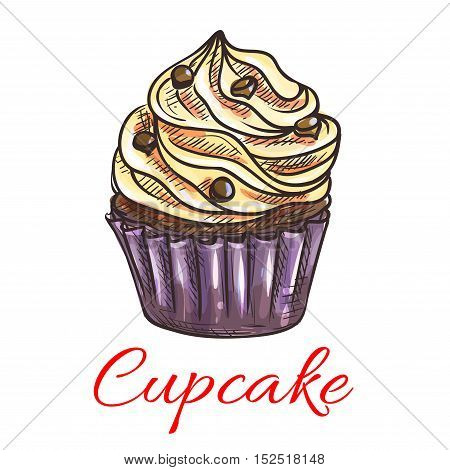 Cupcake with cream and chocolate drops sketch. Chocolate muffin in thin paper cup, topped with whipped cream. Pastry shop, cafe menu, birthday or tea party invitation design