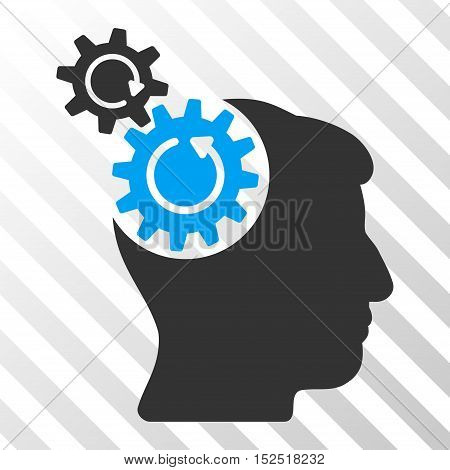 Blue And Gray Head Cogs Rotation interface toolbar pictogram. Vector pictograph style is a flat bicolor symbol on diagonal hatch transparent background.