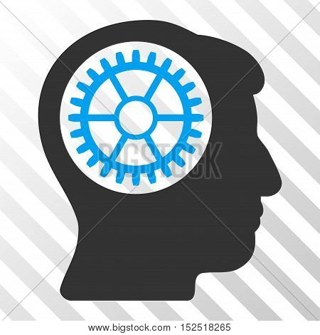 Blue And Gray Head Cogwheel toolbar icon. Vector pictogram style is a flat bicolor symbol on diagonal hatch transparent background.