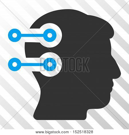 Blue And Gray Head Connectors interface icon. Vector pictograph style is a flat bicolor symbol on diagonal hatch transparent background.