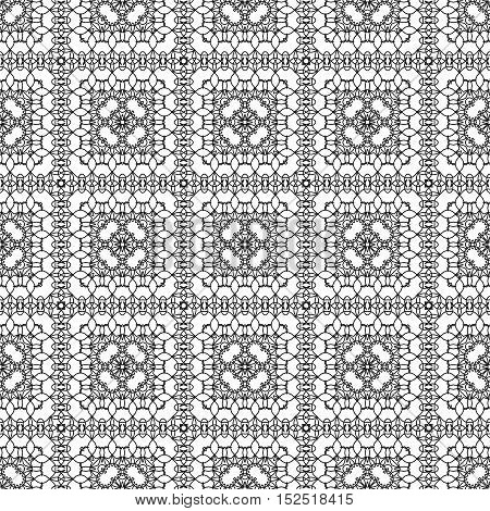 Coloring book pages for adults anti stress coloring. Seamless pattern design. Decorative abstract background in black and white colors