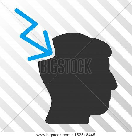 Blue And Gray Head Electric Strike interface pictogram. Vector pictogram style is a flat bicolor symbol on diagonal hatch transparent background.