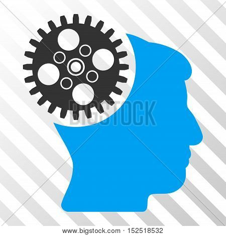 Blue And Gray Head Gearwheel toolbar pictogram. Vector pictograph style is a flat bicolor symbol on diagonal hatch transparent background.