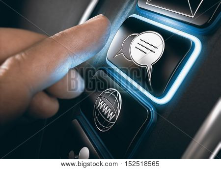 Finger about to press a live chat support button on a computer dashboard. Modern interface design with blue tones. Composite image between an image and a 3D background