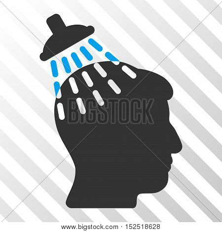 Blue And Gray Head Shower interface pictogram. Vector pictograph style is a flat bicolor symbol on diagonal hatch transparent background.