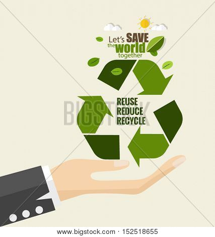 ECO FRIENDLY. Ecology concept with Recycle symbol. Vector illustration.