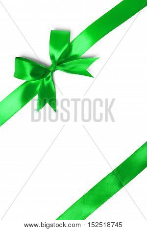 green ribbon with tails isolated on white background