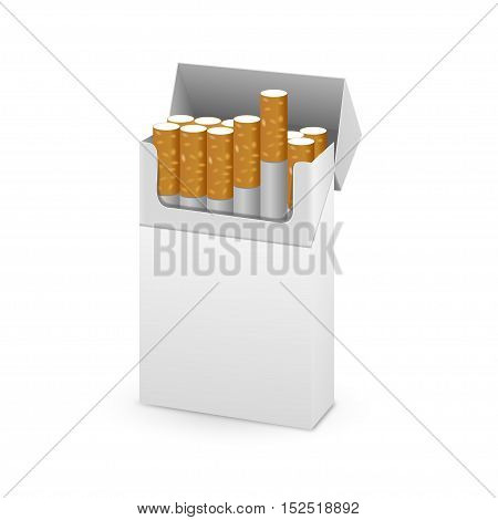 Opened Pack of Cigarettes Isolated on a White Background