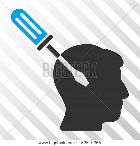 Blue And Gray Intellect Screwdriver Tuning interface toolbar icon. Vector pictogram style is a flat bicolor symbol on diagonal hatch transparent background.
