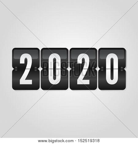 Happy New Year 2020 scoreboard congratulation flip symbol on grey gradient background