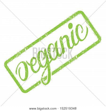 Organic stamp with hand drawn lettering isolated on white. Label, badge template. Organic grunge stamp for ecological, natural products, ingredients.