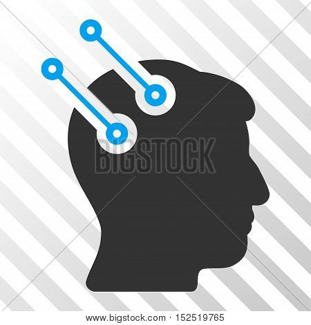 Blue And Gray Neural Interface Connectors interface toolbar pictogram. Vector pictograph style is a flat bicolor symbol on diagonal hatch transparent background.
