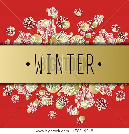 Horizontal border frame. Winter polygonal trendy style snowflakes on red gold background. Winter holidays snowfall concept winter label. Fall snowflake snow red white vector illustration stock vector.
