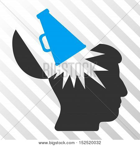 Blue And Gray Open Brain Megaphone interface toolbar icon. Vector pictograph style is a flat bicolor symbol on diagonal hatch transparent background.