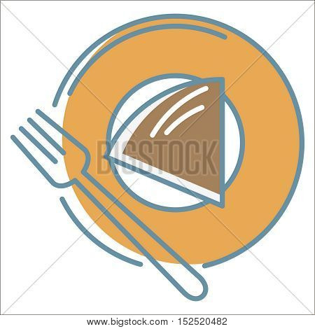 Cake on plate icon. Thin line vector cake on plate peefect for web and mobile applications, can be used as logo, pictogram, icon, infographic element. Vector Illustration.