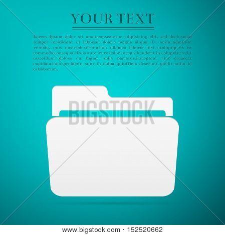 Folder flat icon on blue background. Adobe illustrator