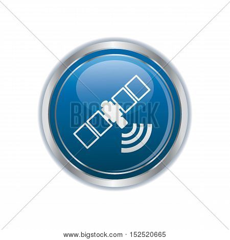 Communication satellite icon on the button. Vector illustration