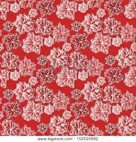 Winter seamless pattern with polygonal trendy style snowflakes on red and white background. Winter holidays snowfall concept. Fall snowflake snow red white vector illustration stock vector.