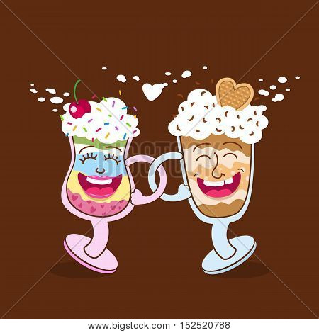 Two friends funny cartoon dessert glasses happy smiling and dancing. Vector flat illustration isolated.