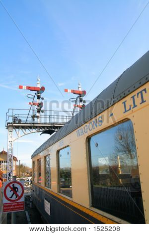 Vintage Railway Signals And Carriage