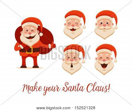 Cartoon Santa Claus for Your Christmas and New Year greeting Design or Animation. Vector isolated illustration of happy Santa Claus holding sack with gift box and different emotions in colorful flat style