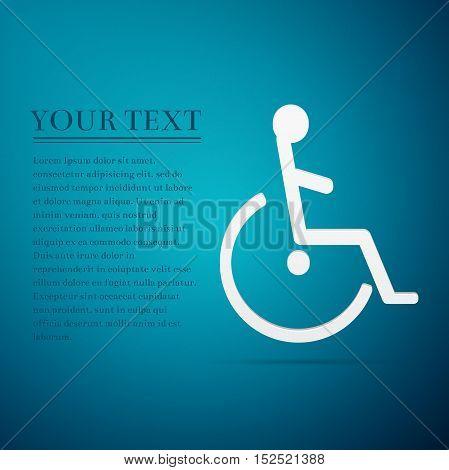 Disabled Handicap flat icon on blue background. Adobe illustrator