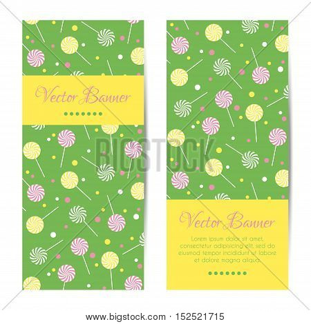 Vector vertical banners, cards with sweet lollipops