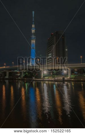 TOKYO  , JAPAN - OCTOBER 11 ,2016 : view Skytree of Sumida River at asakusa , The Tokyo Skytree is the tallest tower in the world, at Night