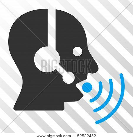 Blue And Gray Operator Talking Sound Waves interface icon. Vector pictograph style is a flat bicolor symbol on diagonal hatch transparent background.