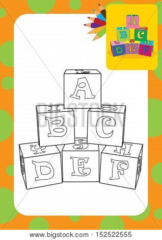 Coloring page. Cartoon letter cubes toys. Vector illustration