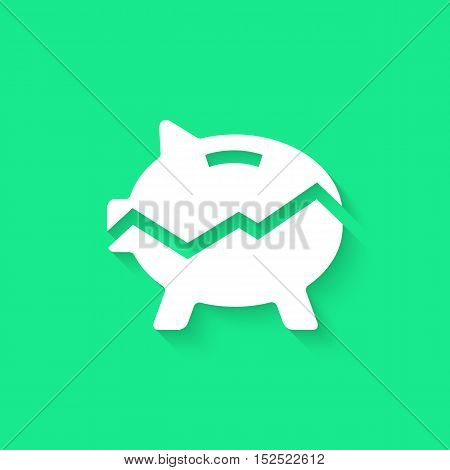 white broken piggy bank with long shadow. concept of poverty, commerce, frugality, economics, success, payment, thrift, growth of income, statistics. flat style modern logo design vector illustration