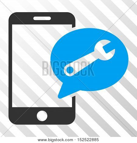 Blue And Gray Phone Service SMS toolbar pictogram. Vector pictograph style is a flat bicolor symbol on diagonal hatch transparent background.