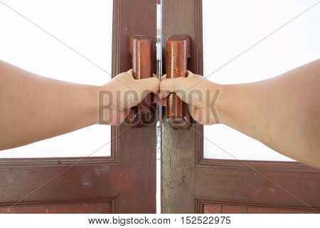 hold handle of wood door, entrance, house, room