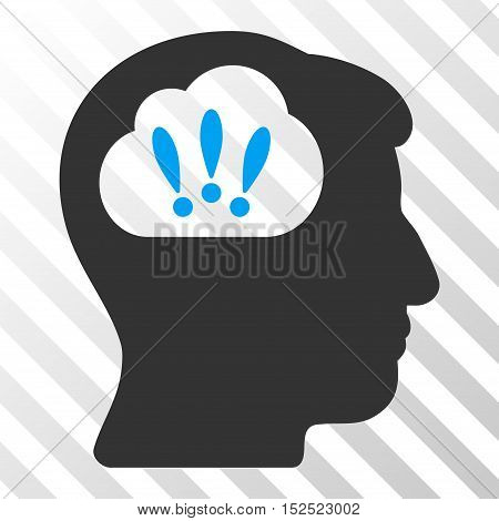 Blue And Gray Problem Brainstorm toolbar pictogram. Vector pictograph style is a flat bicolor symbol on diagonal hatch transparent background.