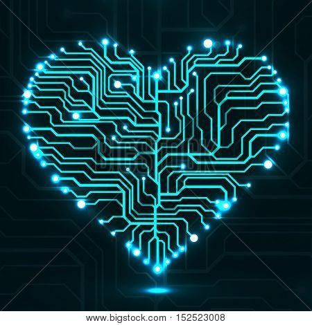 Eletronic circut board in shape of heart. Technology illustration