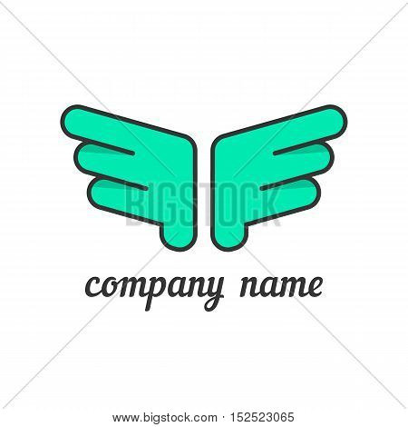 green wings like company branding. concept of flight, feather, luxury silhouette, hawk, firm distinctive feature, corporate symbol. flat style trendy modern brand design vector illustration
